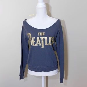 THE BEATLES, Gray Off Shoulder Raw Hem Sweatshirt